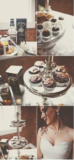 Jack Daniels Whiskey Cupcakes: 2 cups all purpose flour,  3/4 cup cocoa powder,  2 cups brown sugar,  2 tsp. baking soda,  1 tsp. baking powder,  1 tsp. kosher salt,  2 eggs,  1/2 cup strong coffee,  1/2 cup Jack Daniels Whiskey,  1 cup buttermilk, and  1/2 cup vegetable oil.  Bake at 350 for about 18-20 minutes.