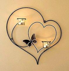 CraftVatika Iron Decorative Double Heart Wall Sconce Candle Holder Hanging Tealight Holders Home Arts Weddings Events Decor Handmade Candle Holders, Wall Candle Holders, Candle Wall Sconces, Candle Stand, Iron Furniture, Home Decor Furniture, Cheap Furniture, Support Bougie, Wrought Iron Decor