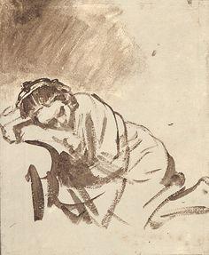 Mulher a dormir. Desenho, 1655