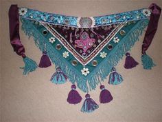 Tribal bellydance belt - teal and damson...would love it in black, reds & golds!
