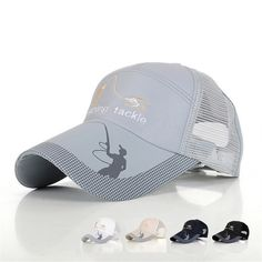 f9571ae8b716c Outdoor Fishing Hats For Men Anti UV Protection Caps Mesh Breathable  Embroidery Grid Cap Sunshade Sports Adjustable Design M043-in Fishing Caps  from Sports ...