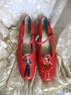 323826176aec Items similar to Red Shoes with Spanish Dancers! Embellished Heels Leather  Boy   Girl on Toes on Etsy