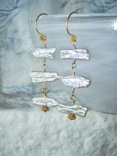 Biwa pearl vermeil earrings gold jewellery by oneoffcreations, $30.00
