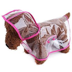 Topsung Waterproof Puppy Raincoat Pink Transparent Pet Rainwear Clothes for Small Dogs/Cats, Size S - http://www.thepuppy.org/topsung-waterproof-puppy-raincoat-pink-transparent-pet-rainwear-clothes-for-small-dogscats-size-s/