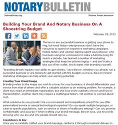 New Article: Building Your Brand And Notary Business On A Shoestring Budget. Great advice from Mobile Notary, veteran Signing Agent and NNA Seminar Presenter, Laura Biewer. #Notary http://www.nationalnotary.org/bulletin/bulletin_articles/building_your_brand_on_a_shoestring_budget.html