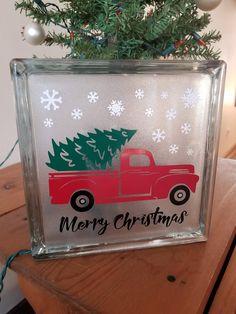 Christmas Tree Red Truck Vinyl Decal Set - Glass B Christmas Glass Blocks, Christmas Wood Crafts, Christmas Vinyl, Christmas Projects, Christmas Tree, Christmas Signs, Christmas Ideas, Christmas Lanterns, Christmas 2019