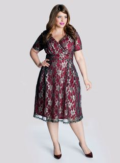 Marisol Plus Size Lace Dress in Pomegranate - Celebrate in Style by IGIGI