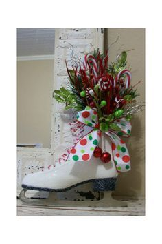 decorative ice skates  | Love this for the pair of ice skates I just bought at Goodwill!