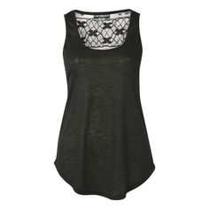 Pilot Lace Back Vest Top ($30) ❤ liked on Polyvore featuring tops, black, lace back top, scoop neck top, scoopneck tank, lace back tank and scoopneck top