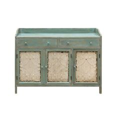 For everyone who didn't inherit a gorgeous and well-kept cupboard from their grandmother's countryside cottage, there's this rustic gem. The white tin doors create a striking contrast to the distressed teal wood, making it a breathtaking find.