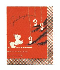 1930s-40s Scottie Dog, Candle-lit Tree Vintage Christmas Greeting Card
