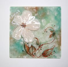 ORIGINAL Painting on Glass. Fused Glass Art. Pastel by SophieRR, $78.00