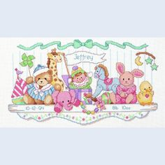 Toy Shelf Birth Record - Dimensions counted cross stitch kit