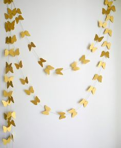 Gold Butterfly garland- shimmer Butterfly wedding decor, home decor,  kids room decor , nursery decoration  party decor on Etsy, $11.00