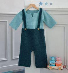 Modèle pantalon à bretelles layette