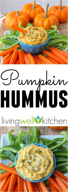 Homemade hummus packed with pumpkin puree and pumpkin seeds for double the delicious (but not overpowering) pumpkin flavor. Healthy vegan appetizer or snack recipe for the fall, especially Halloween or Thanksgiving