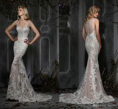 Sexy Charming Lace Wedding Dresses 2015 Spaghetti Straps Sheer Back With Applique Beaded Mermaid Styles Sweep Train Beach Bridal Gowns #dhgatePin