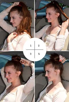 Here's an easy topknot you can do while sitting at a stoplight on your way to the gym. | 18 Ingenious Hair Hacks For The Gym