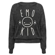 "Show off your emo style with this emo design featuring the text ""Emo Kid"" with an apathetic smiley face. Perfect for an emo girl, emo boys, emo kid, sad girl quotes, funny emo, and a sassy emo or sarcastic emo!"