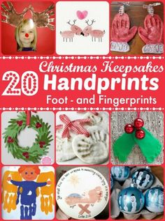 Christmas Keepsakes - wonderful Handprint Crafts for Kids to make. Over 20 ideas using handprints, footprints and fingerprints to make gorgeous keepsakes