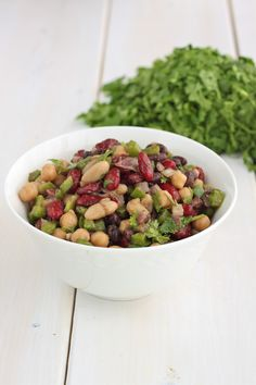 Bean Salad - Black beans, kidney beans, chick peas, red onion, green pepper, lemon, cumin, balsamic vinegar, cilantro, olive oil.