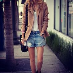 denim shorts| blazer