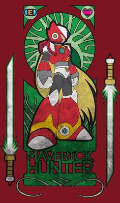 Megaman X Zero Art Nouveau Style Unisex Hoodie