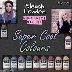 Bleach London Super Cool Colours Semi Permanent Dye Hair Color ♡ WORLDWIDE SHIP #BleachLondon. Supposed to be the best Dye in the world, we`ll see. Just ordered Rose & Washed-up Mermaid.