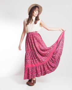 Vintage Clothing | 1970s Handmade Pink Paisley Tiered Maxi Skirt