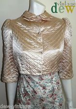 ORIGINAL 1930's 40's satin quilted ART DECO hollywood BED JACKET glamour 8 10