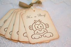 Monkey Baby Shower Tags Jungle Favor Tags Gift Tags Stamped Vintage - In Ivory