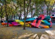 katharina grosse sculpts colorful terrain in brooklyn