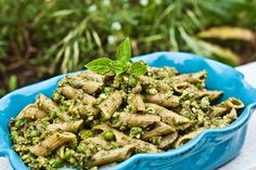 Pesto Pasta with Mushrooms and Peas