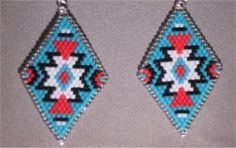 Brightly Colored Native American Style Diamond Beaded Earrings by Beading4u on Etsy