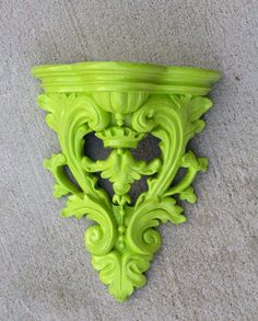 Large Painted Wall Shelf Sconce  Ornate  Fresh Lime by RetroPops
