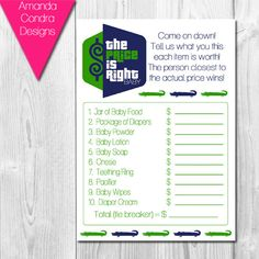The Price Is Right Baby Shower Game Preppy by AmandaCondraDesigns, $5.00