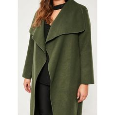 Missguided Plus Size  Waterfall Oversized Duster Coat ($67) ❤ liked on Polyvore featuring outerwear, coats, duster coat, oversized coat, missguided coats, waterfall coats and green duster coat