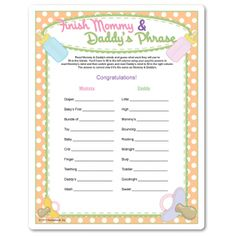 Printable Finish Mommy's Phrase Finish Daddy's Phrase - might be particularly fun as ELA for both parents