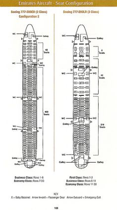 Emirates Airlines Boeing and cabin configuration Boeing 777 300er Seating, Boeing 777 200lr, Emirates Airline, Seating Plans, Business Class, Flight Attendant, Aircraft, Seating Charts, How To Plan