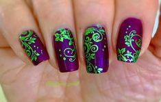 Purple And Green My Nail Arts In 2019 Nail Designs, Purple . Nail Art e-art nail design budapest Purple Nail Art, Green Nail Art, Green Nails, Green Nail Designs, Nail Art Designs, Nails Design, Toe Nail Art, Nail Art Diy, Nail Nail