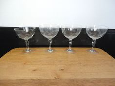Set of 4 Vintage Clear Crystal Etched Cordial & Wine Glasses Wheat Design