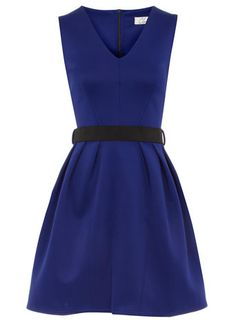 Blue v neck scuba dress