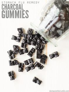 The stomach virus is contagious, but these activated charcoal gummies as a stomach flu remedy really work! All natural, safe for kids and easy to make! :: DontWastetheCrumbs.com