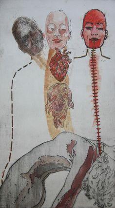 Vitor Novato-Morte  Gravura em metal, xilogravura, guache e bordado sobre papel. 19x34cm