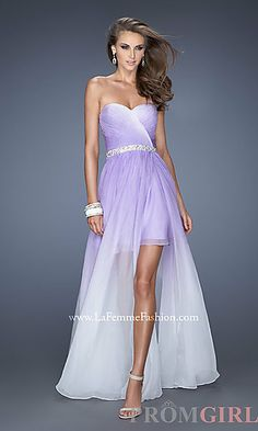 Strapless Ombre High Low Prom Dress at PromGirl.com