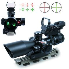 2.5-10X40 Tactical Rifle Scope w/ Red Laser & Mini Reflex 3 MOA Red Dot Sight US