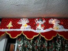 Cenefas Navideñas con Luces Incorporadas Pintadas a mano Valance Curtains, Merry Christmas, Christmas Decorations, Entertaining, Crafts, Home Decor, Netflix, Holidays, Youtube