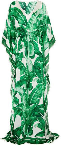 Shop for Printed Silk-chiffon Gown - Green by Dolce & Gabbana at ShopStyle. Dolce & Gabbana, Tropical Fashion, Tropical Dress, Tropical Style, Green Floral Dress, Floral Gown, Green Gown, Floral Dresses, Green Evening Gowns