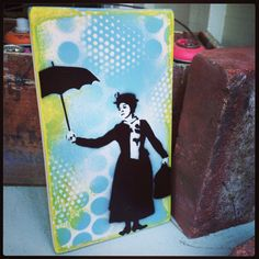 Mary Poppins Original Graffiti Art Painting on Wood Canvas Pop by thefactory101, $45.00