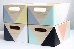 Hand painted wooden storage boxes - geometric pattern - Scandinavian living. Available now in a range of colours!